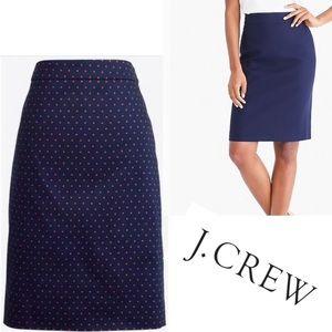 J. Crew Navy Polkadot Pencil Skirt SZ.2